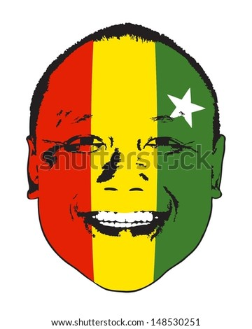 A Myanmar flag on a face, isolated against white.  - stock vector