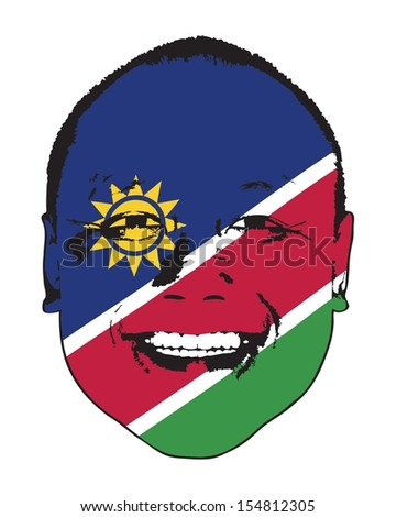 A Namibia flag on a face, isolated against white.  - stock vector