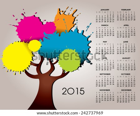 A 2015 Nature and Tree Calendar for Print or Web  - stock vector