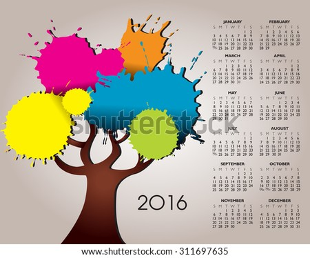 A 2016 Nature and Tree Calendar with Splatter - stock vector