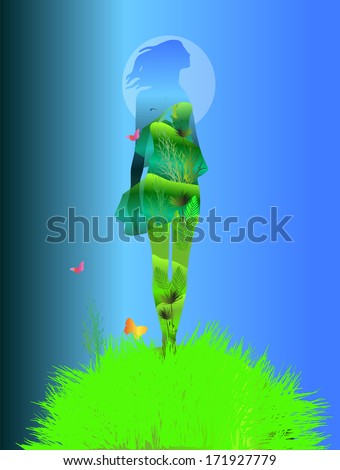 a nature woman standing on a green grass hill with butterflies, vector illustration over a blue background