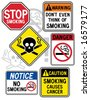 "A new twist on some old signage: Collection #2 of six vector ""No Smoking"" signs.   Font used is my own design. - stock vector"