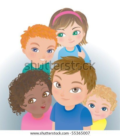 A nice group of friends of different races looking up. - stock vector