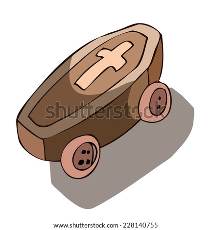 A nice Wooden Coffin on Wheels, ready to roll down the Street. - stock vector