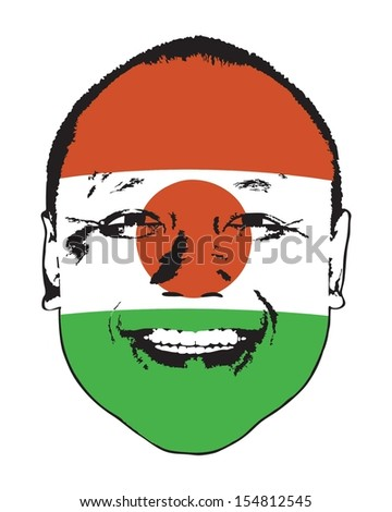 A Niger flag on a face, isolated against white.  - stock vector