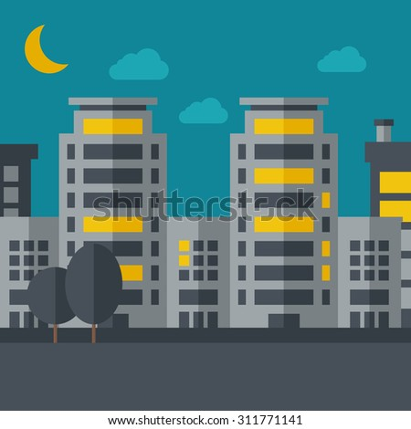 A night scenery of building city with moon. Vector flat design illustration. Square layout. - stock vector