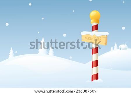 A North Pole winter scene. - stock vector