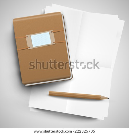 A notebook, papers, and a pencil, vector - stock vector