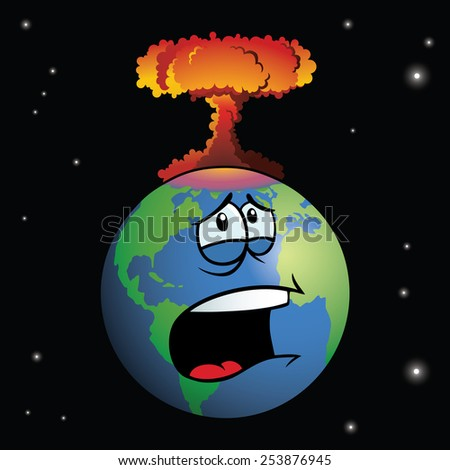 A nuclear weapon exploding on cartoon Earth, forming a mushroom cloud. - stock vector