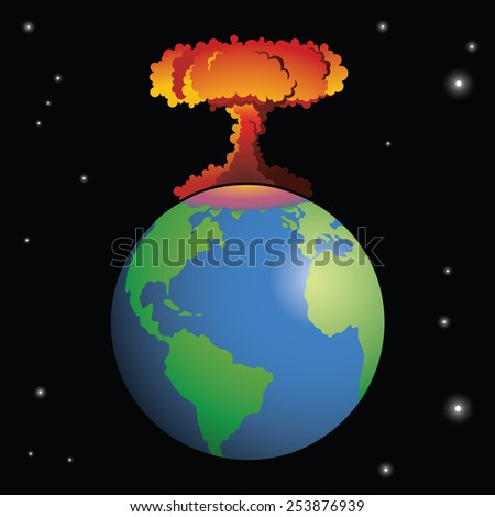 A nuclear weapon exploding on Earth, forming a mushroom cloud. - stock vector