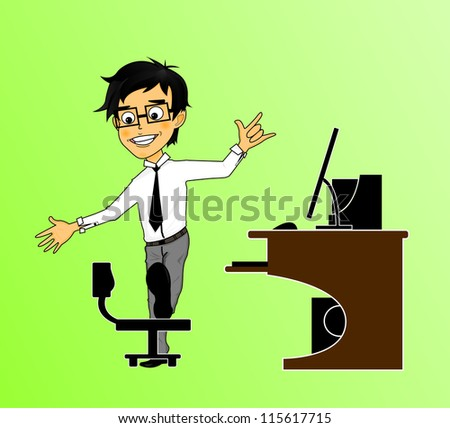 A office man is stretching his lower limb by the chair in the office - stock vector
