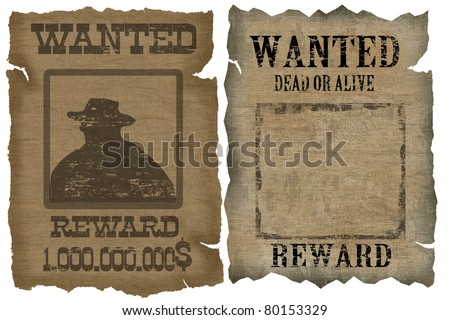 A old wanted posters with a cowboy silhouette and blank, vector illustration - stock vector