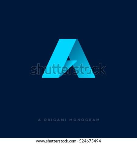 Origami Logo Letter Monogram Stock Vector 524675494