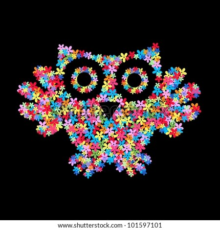 a owl of flowers - stock vector