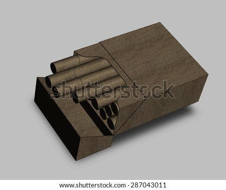 A pack of cigarettes isolated on a grey background