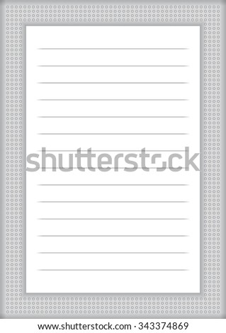 A page of notepad with abstract decorative frame