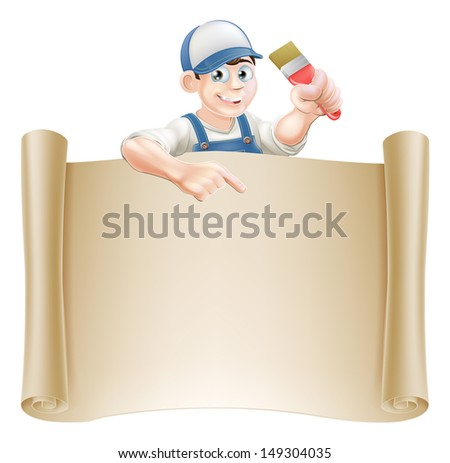 A painter decorator holding a paintbrush and peeking over a scroll banner and pointing - stock vector