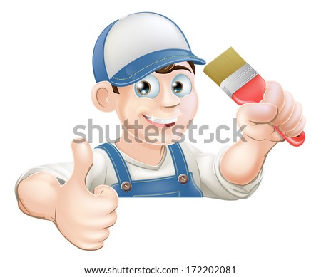 A painter or decorator holding a paintbrush and giving a thumbs up while peeking over a sign or banner - stock vector