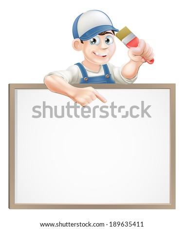 A painter or decorator holding a paintbrush and peeking over a sign and pointing - stock vector