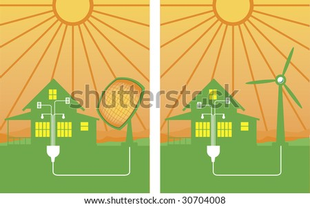 A pair of alternative energy illustrations showing solar and wind energy. - stock vector