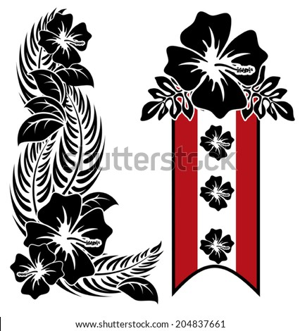 A pair of black,red and white hawaiian hibiscus flowers - stock vector