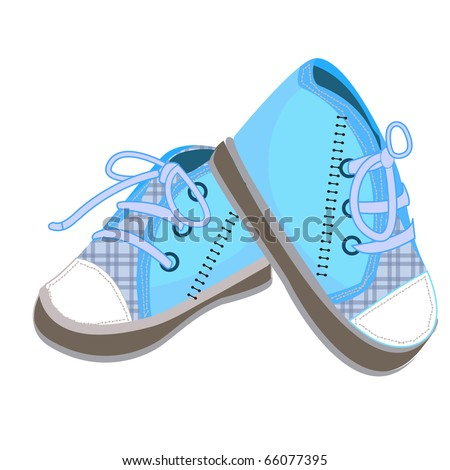 a pair of  blue baby boots illustration design