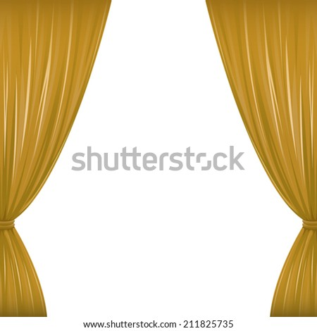 A pair of brown drapes on white with copy space. Eps 10 Vector.