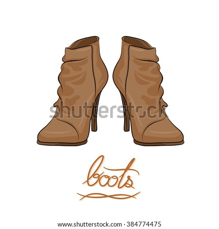 A pair of brown modern boots, fashion shoes cartoon vector in hand-drawn style