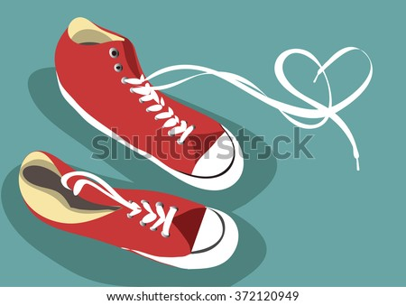 A pair of classic red sneaker, drawn in the form of a sketch. White laces interwoven depicting the symbol of love - the heart. Vector. Stock illustration - stock vector