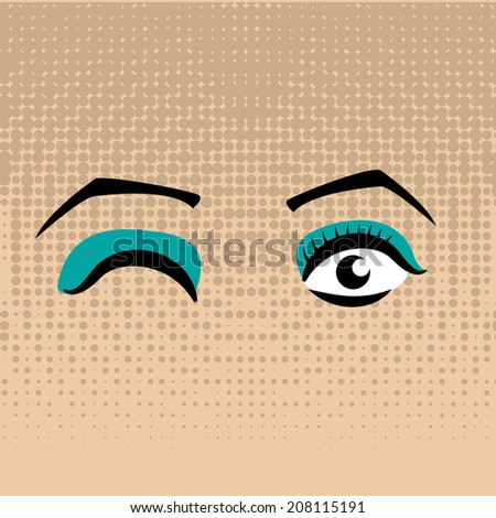 a pair of eyes with some make up  - stock vector