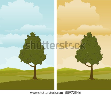 A pair of illustrations of a Spring landscape with a tree in the foreground.
