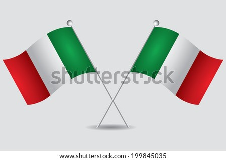 a pair of italian flags in grey background