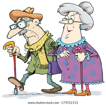 A pair of old men and women went for a walk. - stock vector