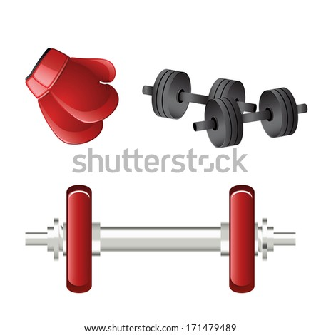 a pair of red gauntlets and weights in white background
