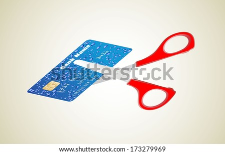 A pair of scissors cutting a credit card in half - stock vector