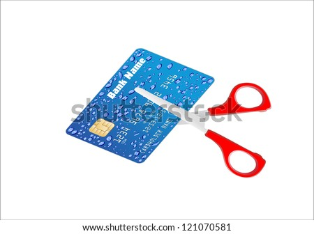 A pair of scissors cutting a credit card in half over a white background - stock vector