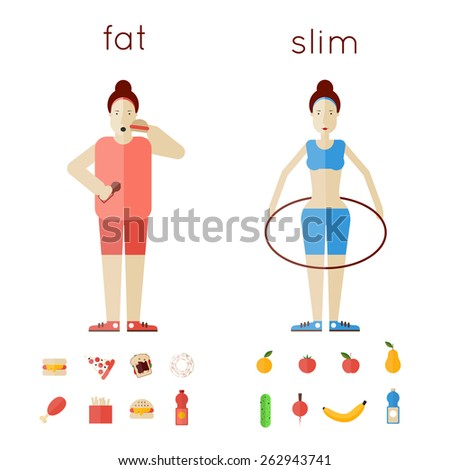 A pair of women thick and thin. Fast food. Sports Health. Healthy life. - stock vector
