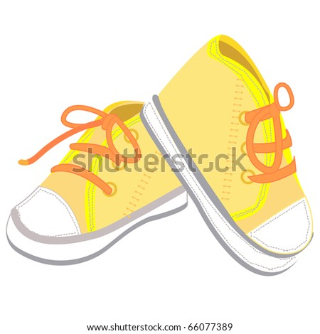a pair of  yellow baby boots illustration design