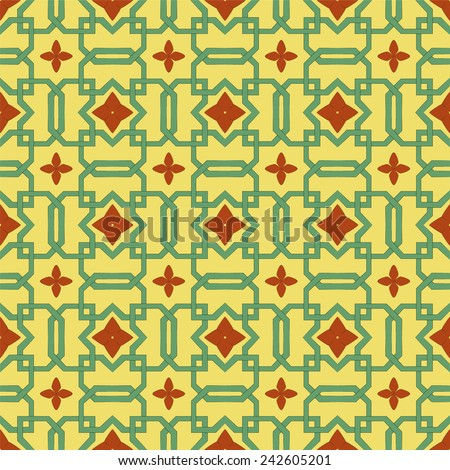 A pale green Celtic inspired knotwork against a soft yellow background with abstract flowers as focal points. This scalable vector wallpaper background tiles seamlessly. - stock vector