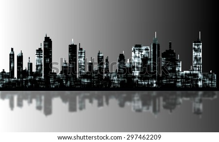 A panorama picture of city skyline - stock vector