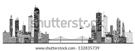 A panorama picture of city skyline with chain bridge and helicopter - stock vector