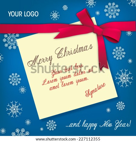 A paper Merry Christmas card bounded by a red bow over a blue snowy texture background. Vector illustration  - stock vector