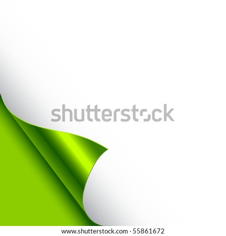 A paper page curl in green. Vector illustration. - stock vector