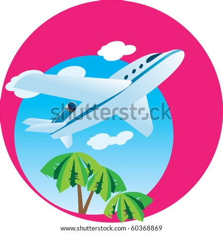 A passenger airplane flying through the sky. Vector Illustration. - stock vector