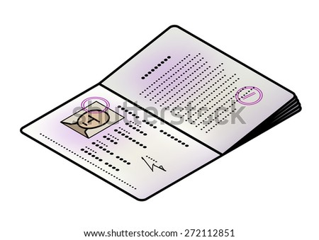 A passport opened to the front / photo page. Male face. - stock vector