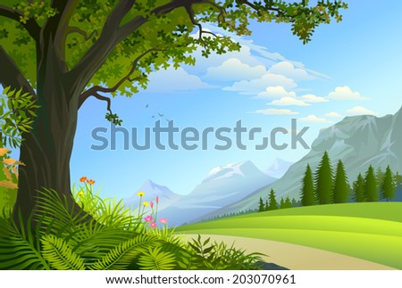 A path between a divine mystical forest and magnificent ice capped mountains   - stock vector