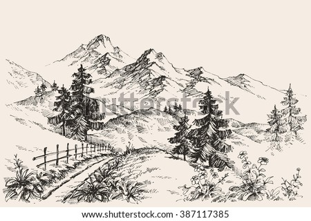 A path in the mountains sketch - stock vector