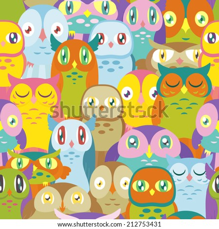 A pattern depicting many colorful owls of different shapes and sizes. Seamlessly Repeatable. Eps 10 Vector. - stock vector