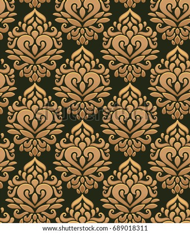 A Pattern Of Gold In The Baroque Style Suitable For Curtains Wallpaper Fabric