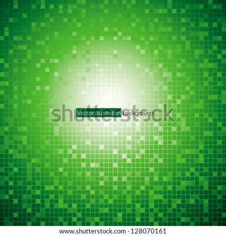 a pattern of green color mosaic background. Vector. - stock vector